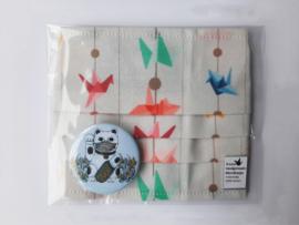 Mondmasker met kraanvogel print