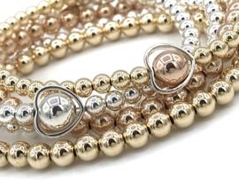 Armband Hart met Sterling zilveren balletjes en hartjes spacer