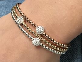 Armband Julia met Sterling zilveren balletjes en Swarovski crystal