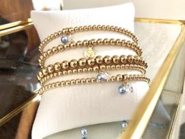 Zwangerschaps armband Happy met real gold plated balletjes en Swarovski pareltje