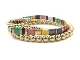 Armband Tila8 met real gold plated balletjes en edelsteen
