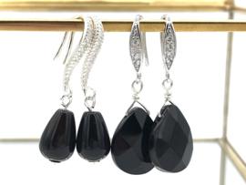 Sterling zilveren oorbellen met zwarte onyx edelsteen en zirkonia