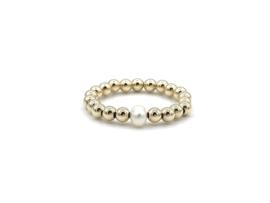 Stretch ring Selah met real gold plated balletjes en wit zoetwaterpareltje