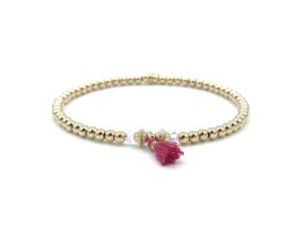 Armband Soof met real gold plated balletjes, Swarovski crystal en roze kwastje