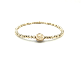 Armband lucky coin small met real gold plated balletjes
