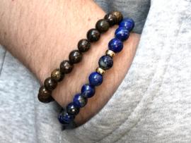 Heren armband Noah met lapis lazuli edelsteen en real gold plated spacers