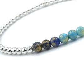 Armband Pippa met Sterling zilveren balletjes en blauwe jade edelsteen