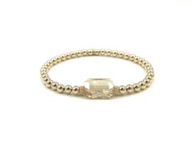 Armband Shiny met champagne kleurig Swarovski crystal en real gold plated balletjes