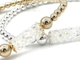 Armband Ize met Sterling zilveren balletjes en Swarovski crystal