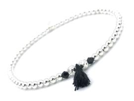 Armband Juna met Sterling zilveren balletjes, crystal en zwart kwastje