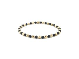 Armband Kaat met ovale gouden balletjes en zwarte onyx edelstenen