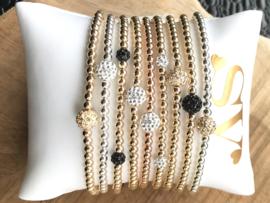 Armband Ilse met Sterling zilveren balletjes en Swarovski crystal