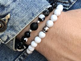 Heren armband Bram met gestreepte carneool edelsteen en Sterling zilveren kralen