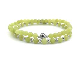 Armband Daphne met gele jade edelsteen en 925 Sterling zilveren balletjes