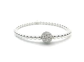 Armband Elisa met sterling zilveren balletjes en glitterbal van crystal