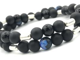 Heren armband Noud met matte en glanzende zwarte onyx en Sterling zilver