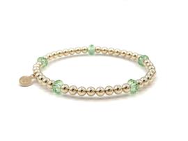Armband Elynn met groen Swarovski crystal en real gold plated balletjes