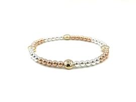 Armband Kittie met zilveren en rosé real gold plated balletjes