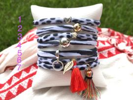 Stretch armband zebra en leopard