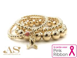Armband Pink Ribbon met real gold plated balletjes