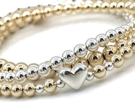 Armband Defne met real gold plated balletjes en zilveren hartje