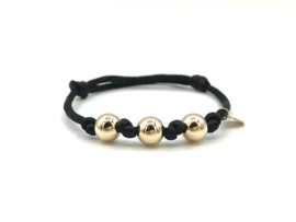 Armband Silk zwart met 3 gouden ballen op zijdekoord