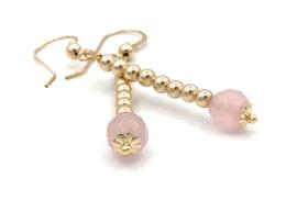 Gouden oorbellen met rozenkwarts