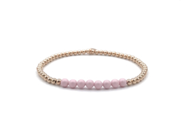 Armband Esila met rosé gouden balletjes en roze Swarovski pareltjes