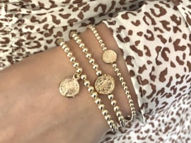 Armband lucky coin bedel met real gold plated balletjes