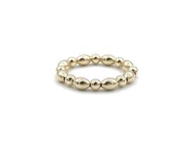 Elastische ring Jessica met ronde en ovale gouden balletjes