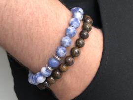Heren armband Jack met matte edelsteen en Sterling zilveren Bali spacers