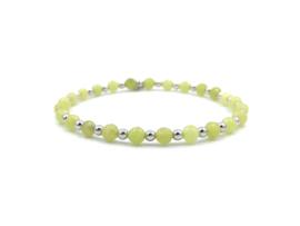 Armband Daphne met gele jade edelsteen en gerhodineerd zilveren balletjes