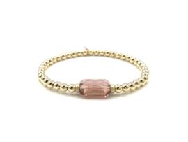 Armband Shiny met roze Swarovski crystal en real gold plated balletjes