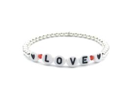 Armband Love met Sterling zilveren balletjes en letter kraaltjes