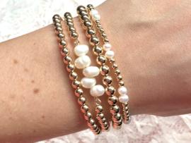 Armband Hafsa met parels en real gold plated balletjes