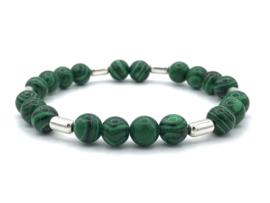 Heren armband Sven met groene malachiet en Sterling zilveren staafjes