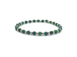 Armband Amina met groene jade edelsteen en rosé gouden balletjes