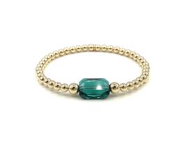 Armband Shiny met groen Swarovski crystal en real gold plated balletjes