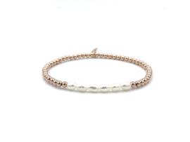 Armband Jana met rosé gouden balletjes en ovale zoetwaterpareltjes