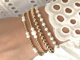 Armband Benthe met witte jade edelsteen en real gold plated balletjes