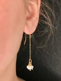 Real gold plated oorbellen met witte zoetwaterpareltjes