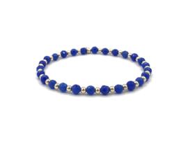 Armband Caren met blauwe Lapis Lazuli edelsteen en real gold plated balletjes