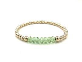 Armband Claire met groen Swarovski crystal en real gold plated balletjes