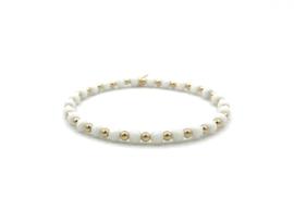 Armband Benthe met facet witte jade edelsteen en gouden balletjes