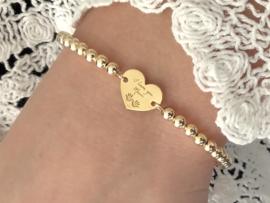 Armband Love mum met hartje en real gold plated balletjes