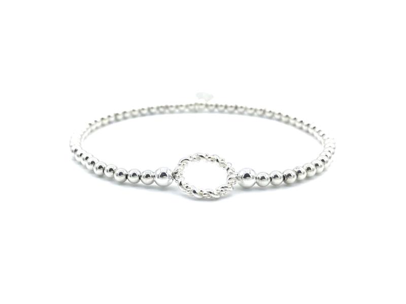 Armband Leah met Sterling zilveren balletjes en leuke 'gedraaide' ring