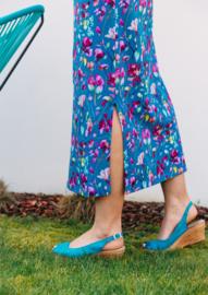 LONG CLASSY BLUE FLOWER DRESS