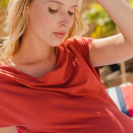 - AMBER SHIRT RUST  short sleeves /waterfall neck