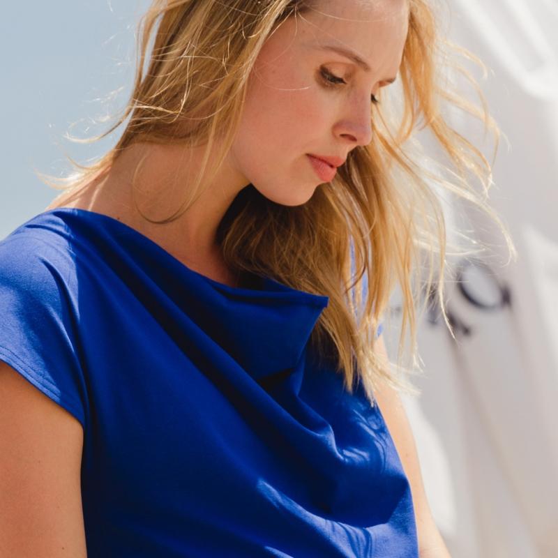 AMBER SHIRT COBALT  short sleeves /waterfall neck