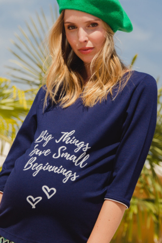 ADA SHIRT  NAVY -7/8 sleeves with text